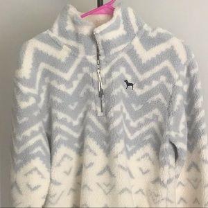 Sherpa white grey Victoria's Secret Pink Pullover